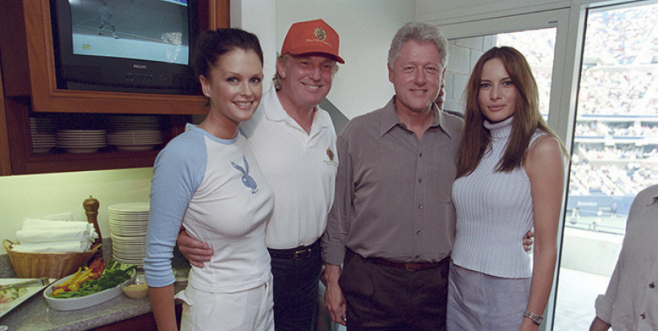 Melania y Donald Trump, Bill Clinton y la modelo Kylie Bax. (William J Clinton Presidential Library/Reuters)