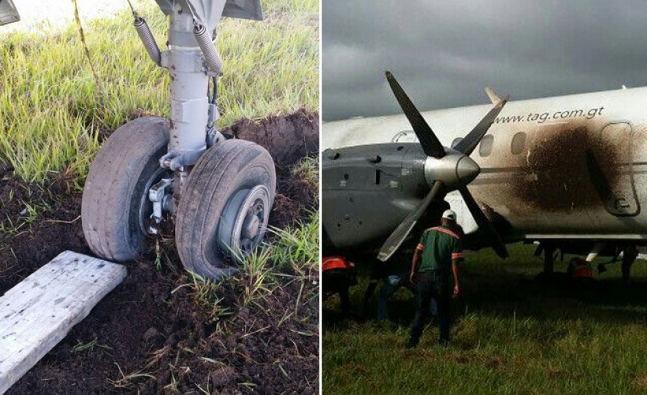 El accidente ocurrió por una llanta que explotó antes de despegar. (Foto: Twitter, La Tribuna)