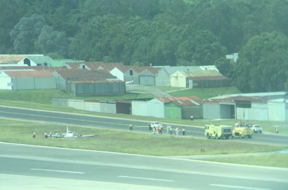 La avioneta sufrió desperfectos en el tren de aterrizaje. (Foto: DGAC)