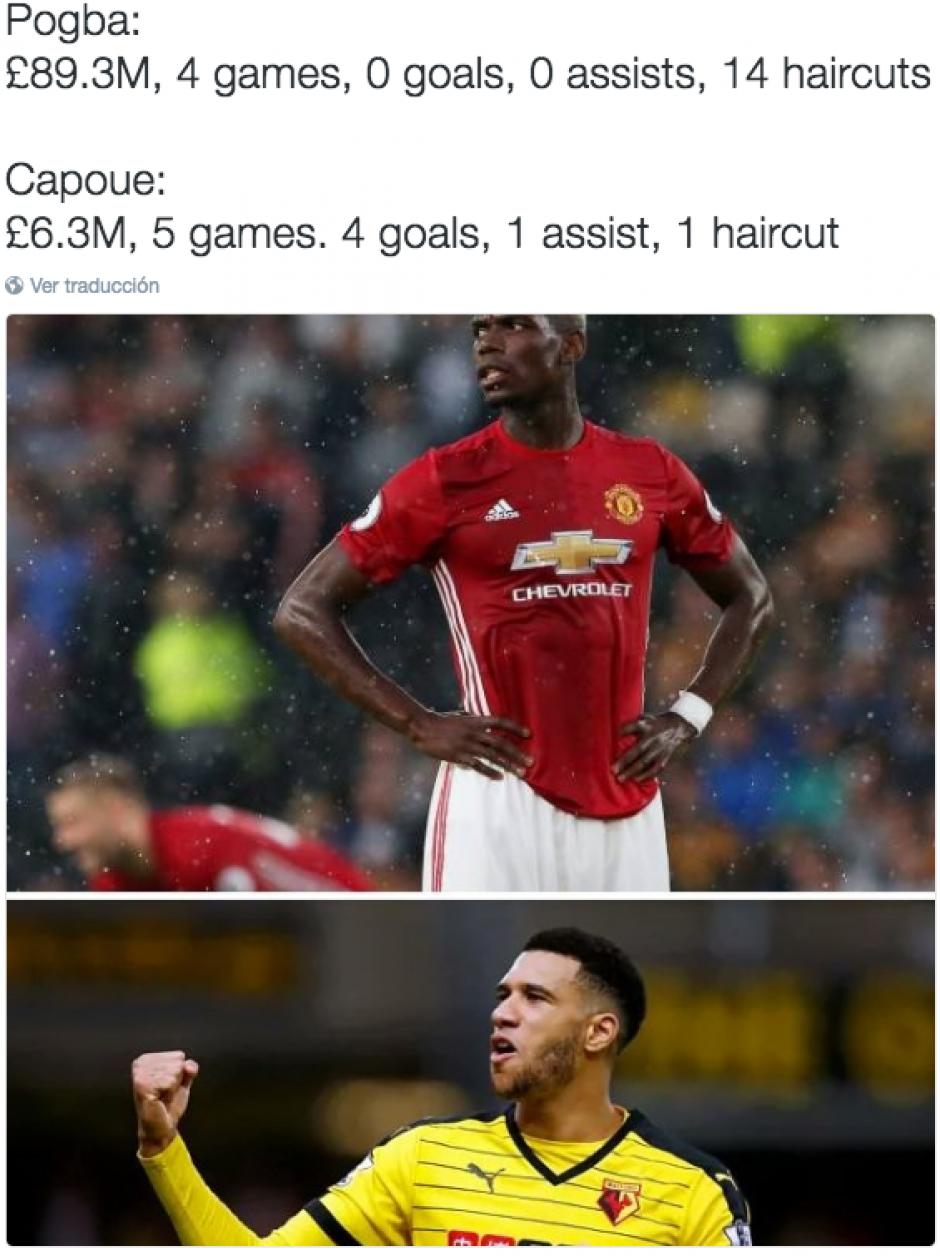 """Las redes también se burlan del pelo de Pogba: """"14 peinados y 0 goles"""". (Twitter)"""