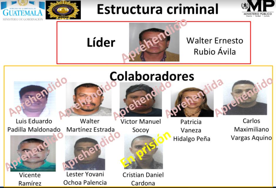 Nueve personas han sido vinculadas a la estructura criminal. (Foto: MP)