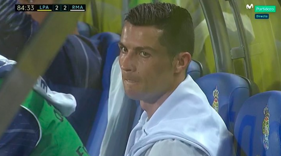 CR7 se fue del campo sin despedirse de nadie. (Captura de Pantalla/Movistar Plus)