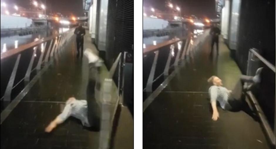 El temerario borracho se llevó un tremendo golpe al intentar cruzar una reja saltando