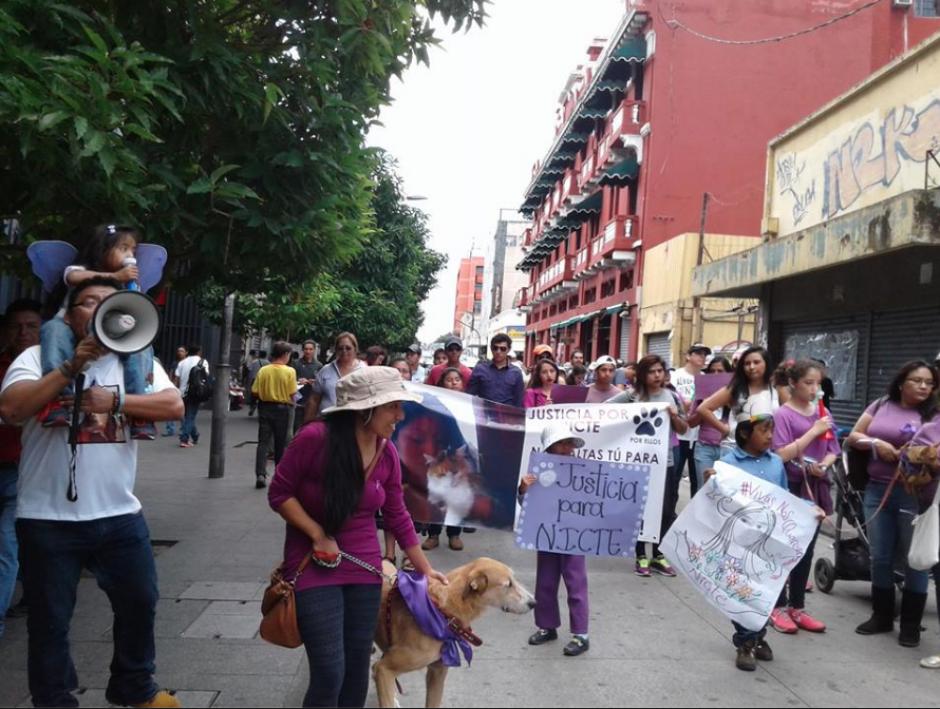 La marcha recorrió la sexta avenida de la zona 1, desde la Municipalidad, hasta el parque central. (Foto: Fundación María Nicte en Defensa del Bienestar Animal)