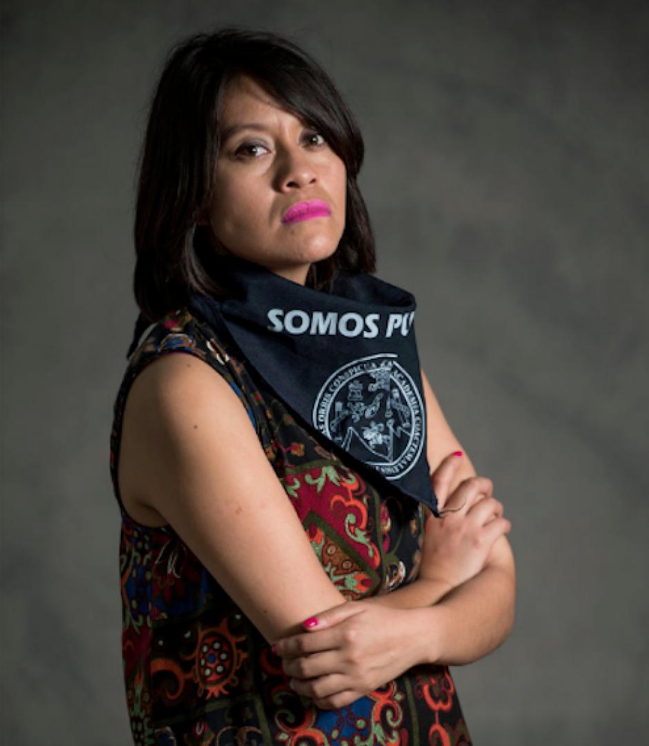 Lucía Ixchiu, de 25 años, es gestora cultural y estudiante de Arquitectura. (Foto: Oliver de Ros/The New York Times)