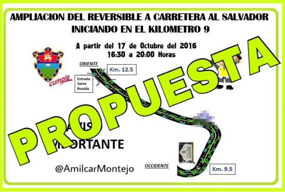 En redes sociales circuló una propuesta de que se ampliaría un reversible de Carretera al Salvador pero es falso. (Foto: Twitter, Amílcar Montejo)