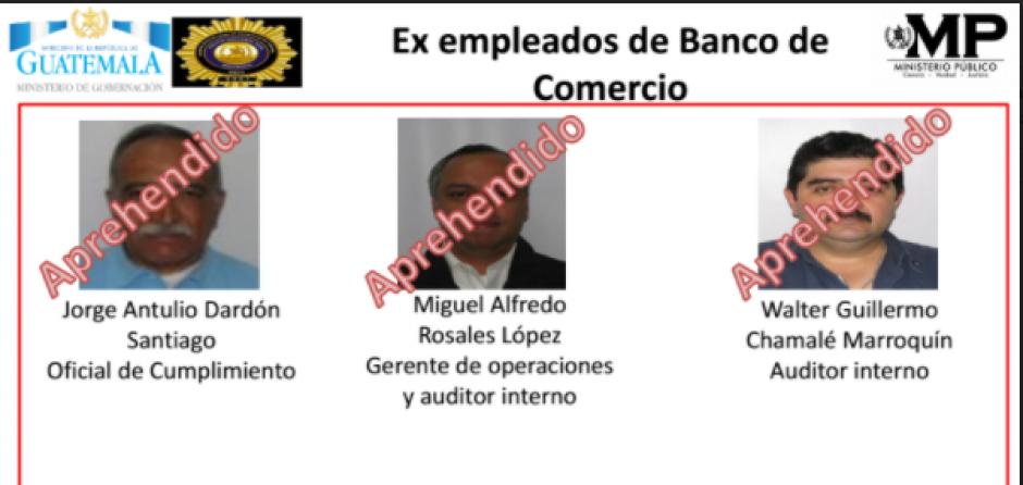 Entre los detenidos, figuran tres exempleados del Banco del Comercio. (Foto: MP)