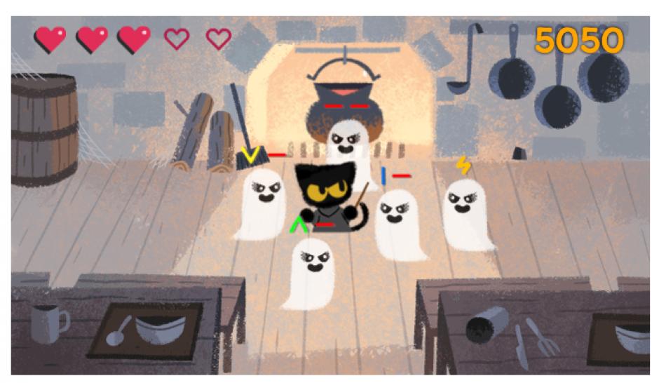 El Doodle de Google para Halloween es un juego interactivo.
