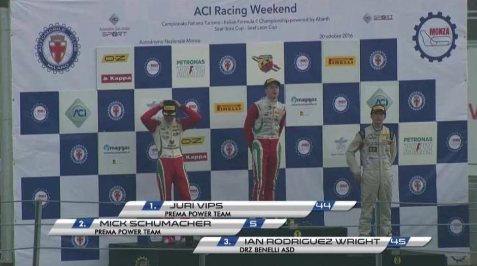 El guatemalteco estaba en el podio junto a Mick Schumacher hijo de la leyenda de la F1. (Imagen: captura de pantalla)