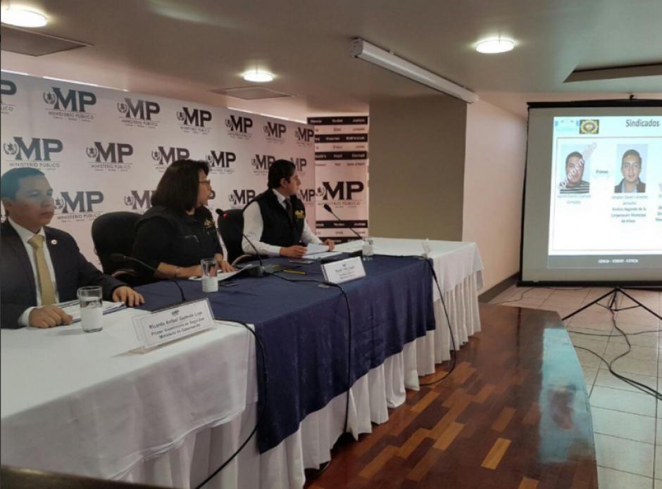 Autoridades del MP y del Ministerio de Gobernación ofrecieron detalles de la investigación. (Foto: MP)