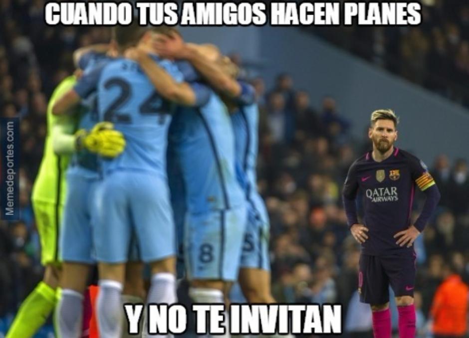 El argentino desapareció por la buena defensa de Pep. (MemeDeportes)