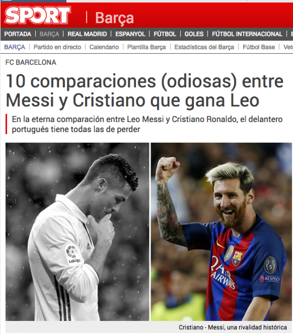 Sport ha publicado dos y hasta tres notas diarias a favor de Messi sobre CR7. (Sport)