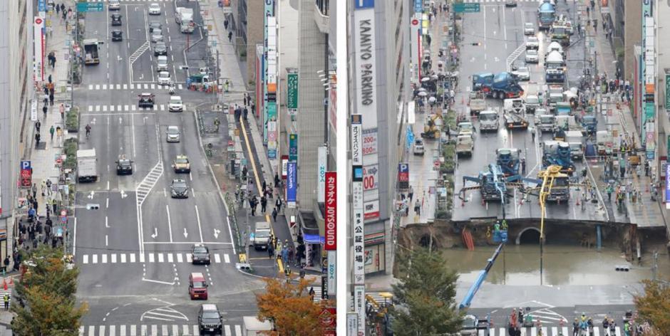 En Japón una de las principales calles colapsó y en menos de una semana fue reparada. (Foto: AFP)