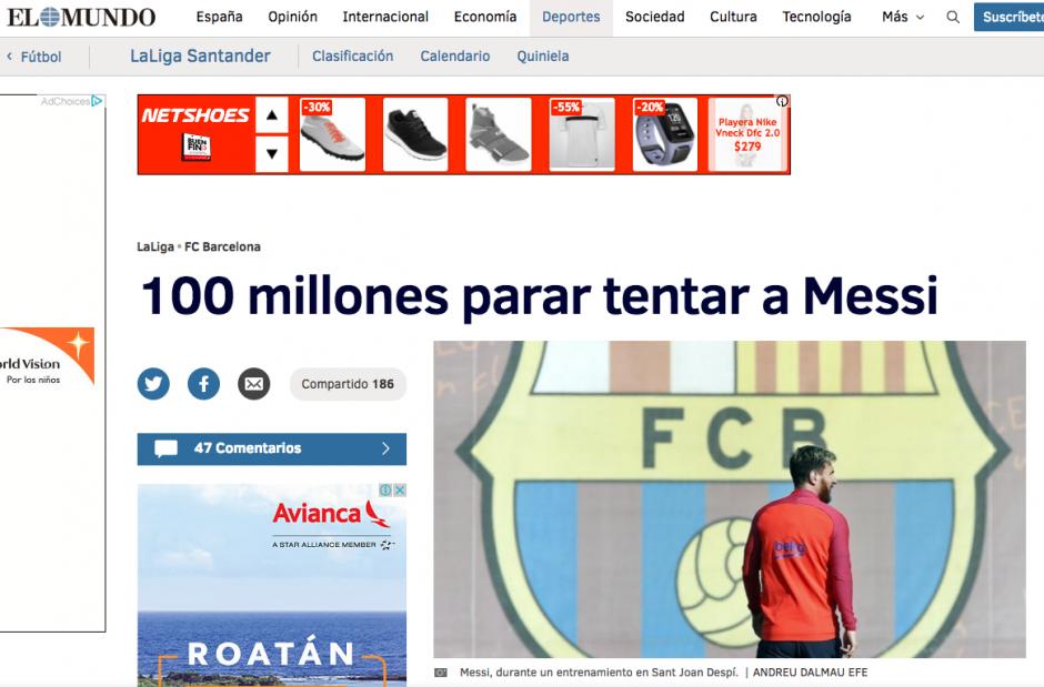 El Mundo de España aseguró que desde Inglaterra hay una oferta de 100 millones a Messi. (Foto: El Mundo)