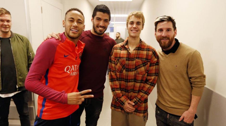 La MSNJ, es decir Messi, Suárez, Neymar y Justin. (Foto: FC Barcelona)