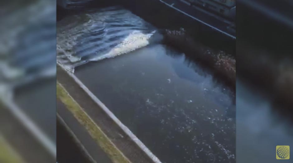 Varios videos muestran cómo el caudal del río se invierte tras el tsunami. (Imagen: captura de YouTube)
