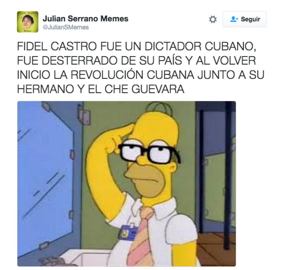 Homero Simpson trata de recordar quién era Fidel. (Foto: Twitter)