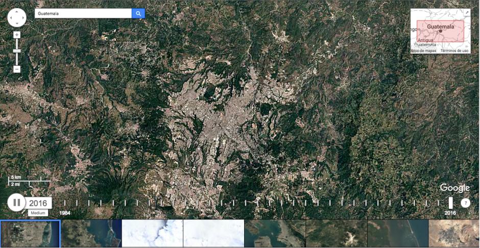 El video muestra cómo era el departamento de Guatemala en 1988. (Imagen: captura de Google Earth)