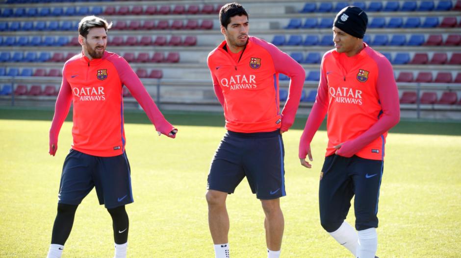 Messi con sus socios de siempre, Suárez y Neymar. (Foto: FCB)