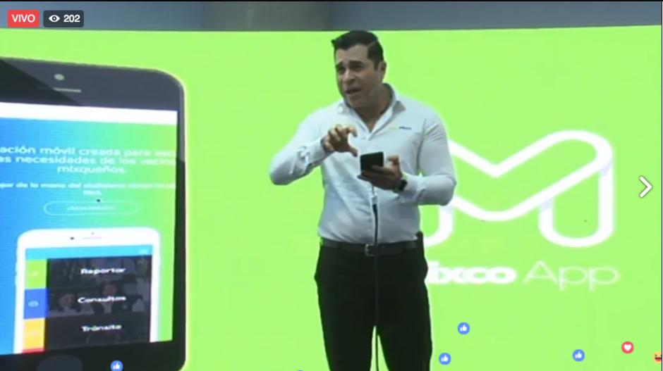 El alcalde Neto Bran presentó la app a lo Steve Jobs. (Imagen: captura de pantalla)