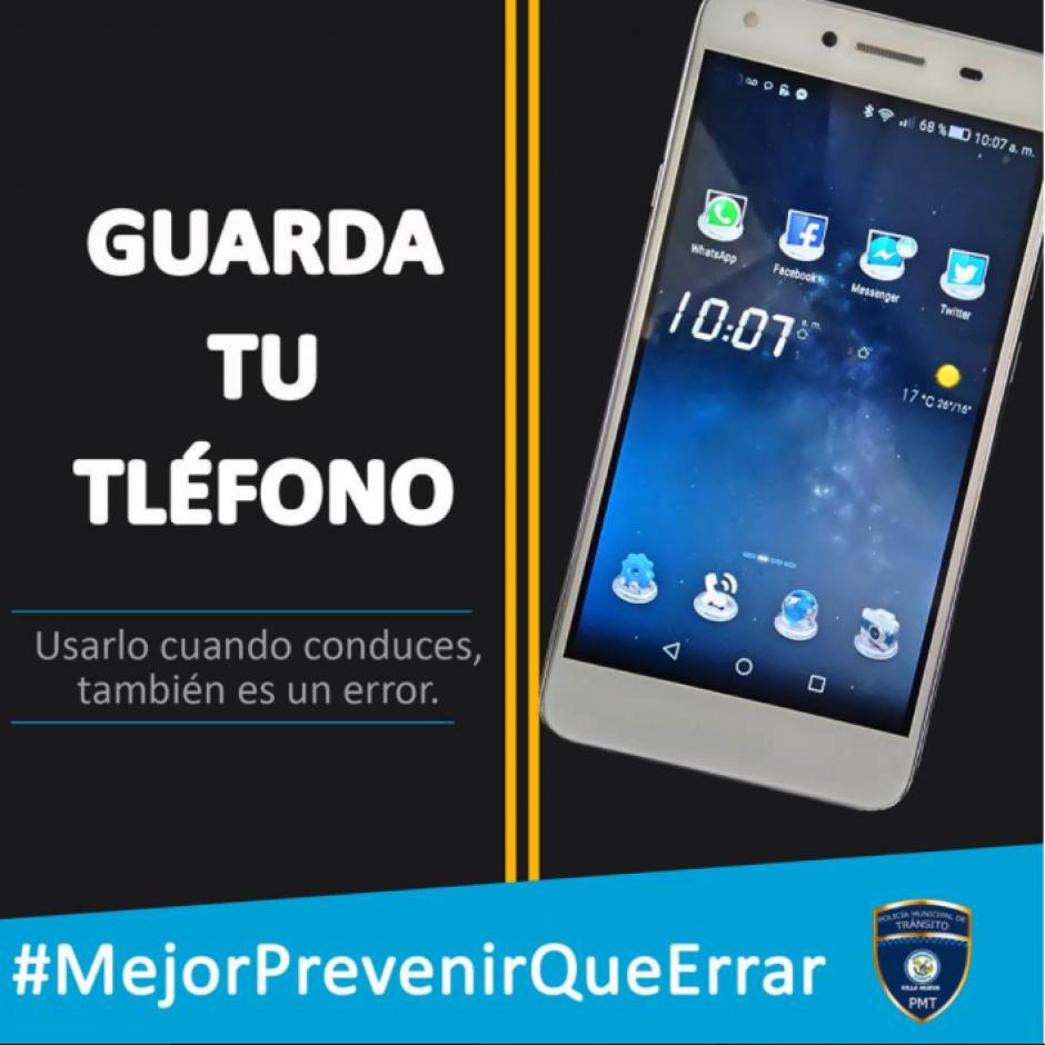 La campaña busca concientizar sobre actividades que no se deben hacer mientras se conduce. (Imagen: Municipalidad de Villa Nueva)