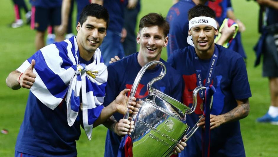 Suárez, Messi y Ney con la Champions 2015. (Foto: AS)