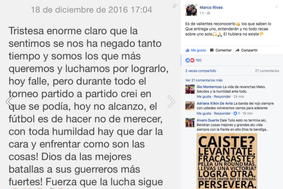 En su perfil de Facebook Marco Rivas mostró su tristeza tras la derrota de Municipal. (Foto: Facebook)