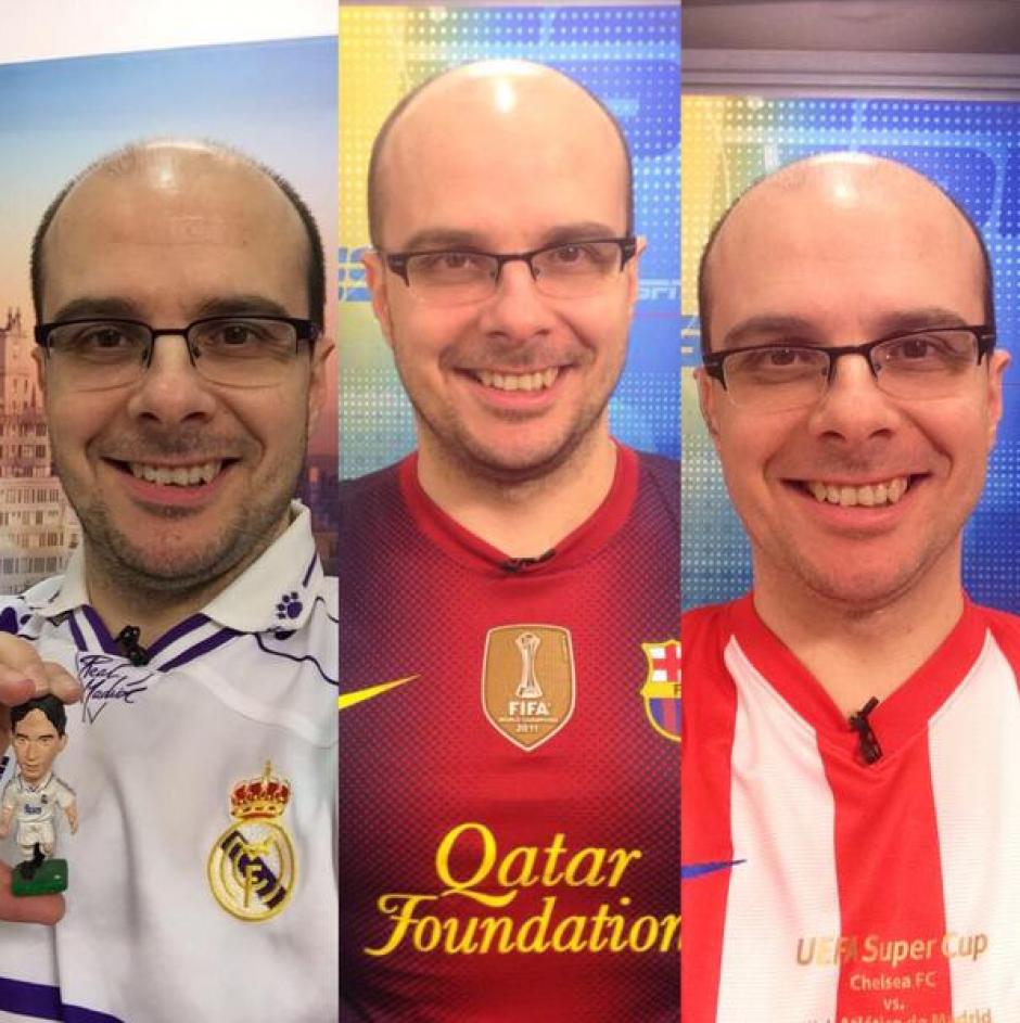 Del Madrid, del Barça y del Atleti: Mister Chip usa todas las camisolas. (Foto: Twitter)