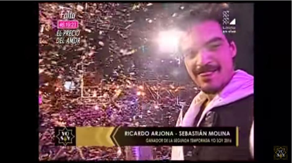 """""""Arjona"""" celebró el premio obtenido. (Captura Youtube)"""