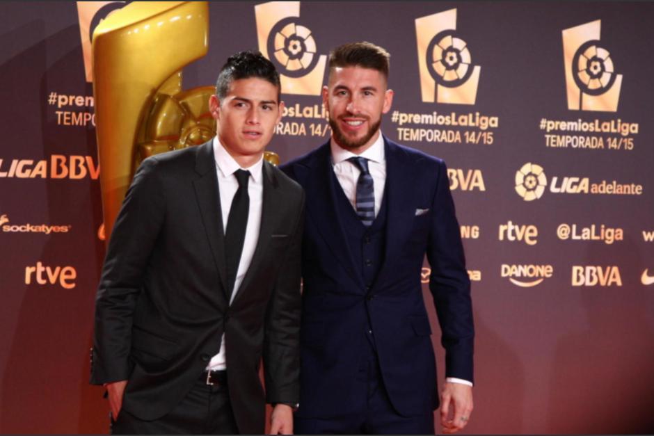 James y Ramos en una gala de la temporada pasada. (Foto: La Liga)