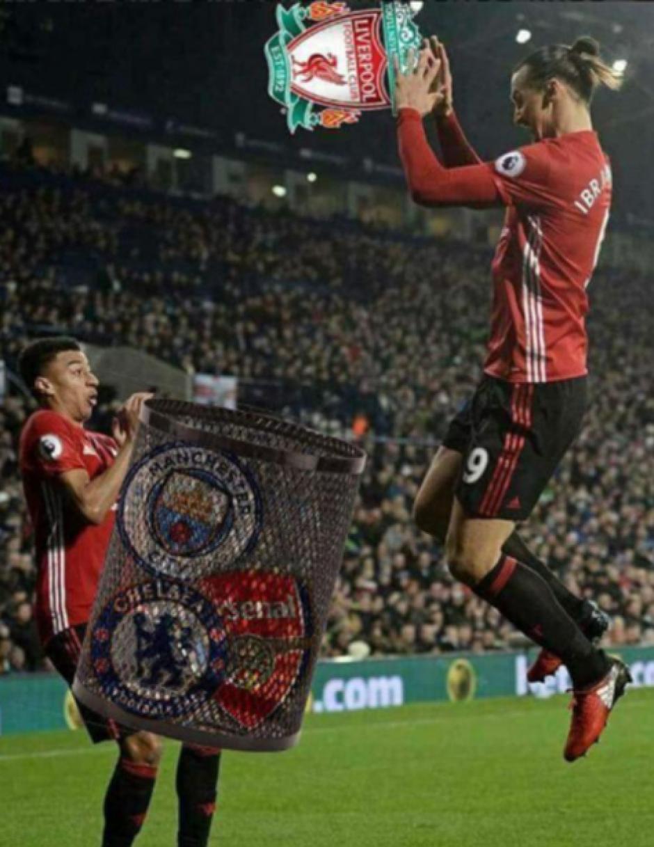 El máximo rival, Liverpool, a la basura. (Foto: Twitter)