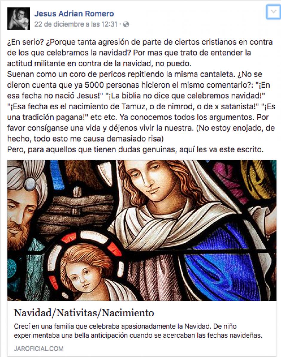 En Facebook Jesús Adrián Romero republicó las razones del por qué celebra navidad. (Foto: Twitter)