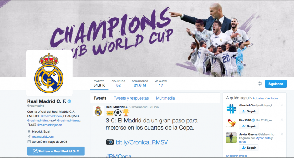 En Twitter, el Madrid golea al Barcelona. (Foto: Captura de pantalla)