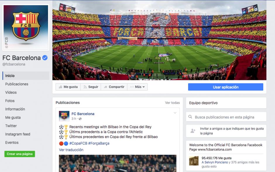 Los culés aventajan al Madrid en seguidores de Facebook. (Foto: Captura de pantalla)