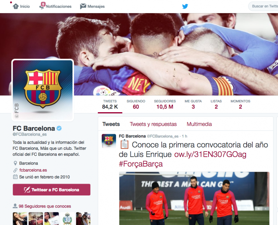 En Twitter, el Barça tiene menos seguidores que el Real Madrid. (Foto: Captura de pantalla)