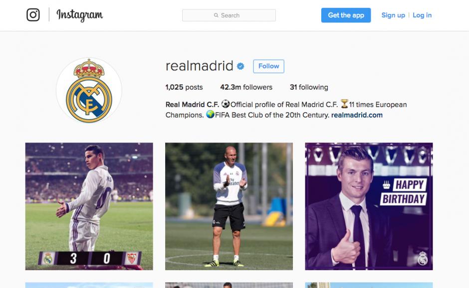 El Real Madrid sigue de cerca al Barça con sus seguidores en Instagram. (Foto: Captura de pantalla)