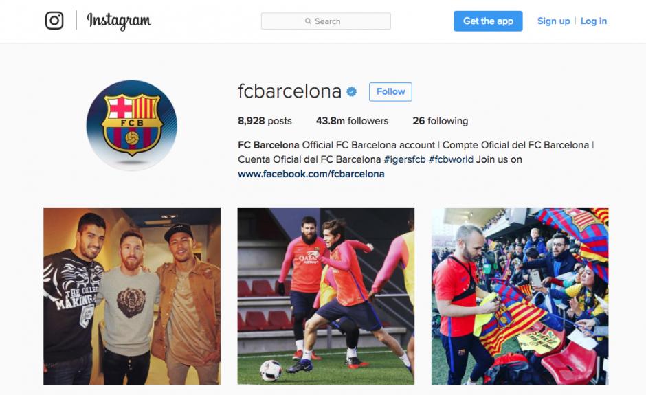 El Barcelona tiene más seguidores en Instagram. (Foto: Captura de pantalla)
