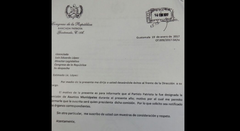 Una carta de la diputada Stella Alonzo confirma la presidencia de una comisión. (Foto: Diario La Hora)