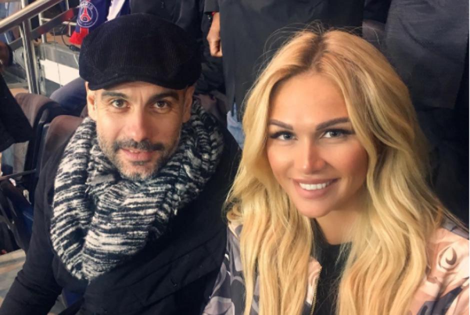 Pep Guardiola tuvo una grata compañía en Francia. (Instagram Victoria Lopyreva)