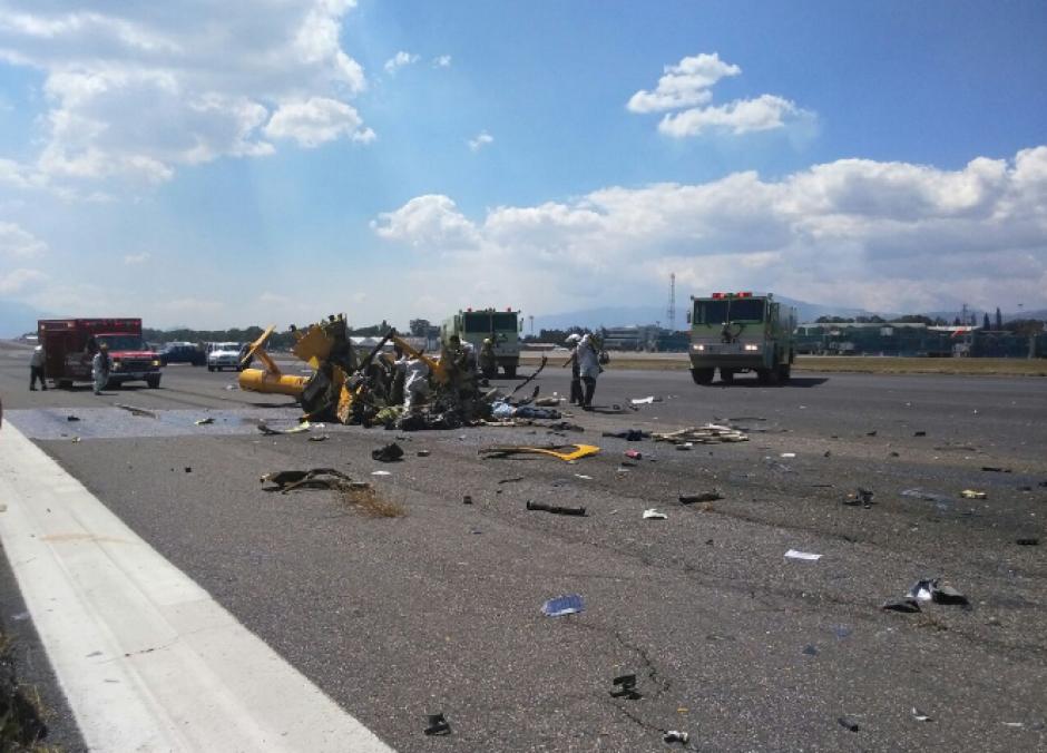 Un helicóptero se desplomó en La Aurora. (Foto: Emisoras Unidas)