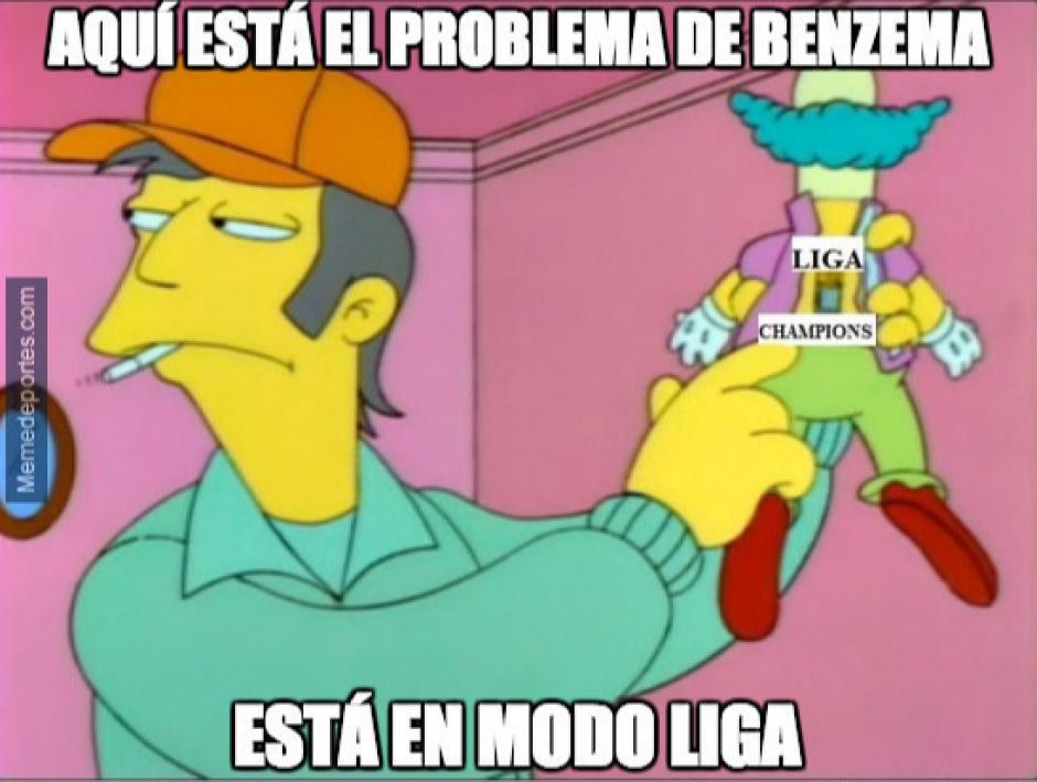 "Benzema en modo ""Liga"" o modo ""Champions"". (Foto: Twitter)"
