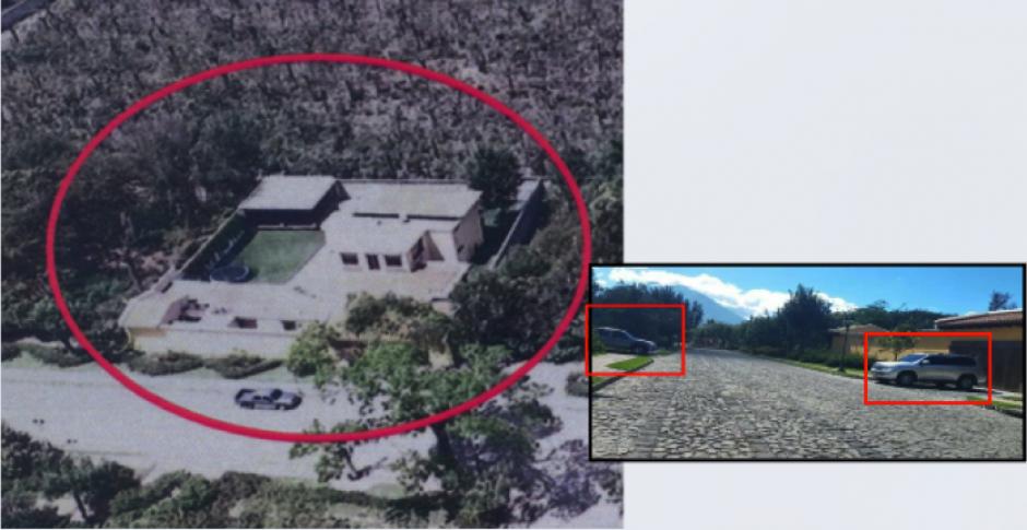 Vista aérea de la segunda y residencia actual de la exdiputada Emilenne Mazariegos. (Foto: MP)