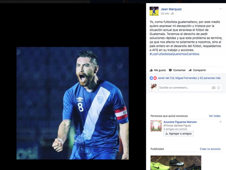 Jean Márquez también pide soluciones rápidas a los problemas del fútbol nacional. (Foto: Facebook)