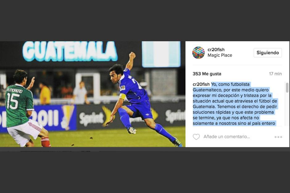 Carlos Ruiz usó una foto de un partido contra México para enviar un mensaje fuerte y claro. (Foto: Instagram)