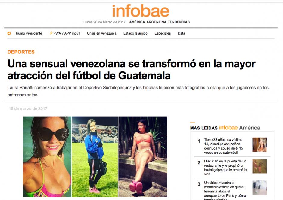 Infobae también publicó a la sexy venezolana de Suchi. (Foto: Twitter)