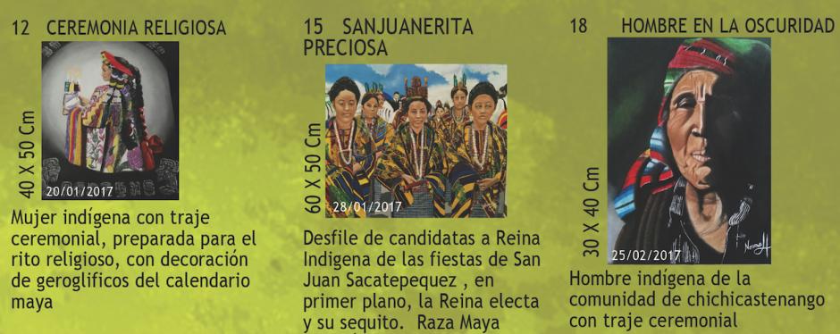 La exposición está conformada por 20 pinturas que muestran estampas guatemaltecas. (Foto: Trifoliar de exposición)
