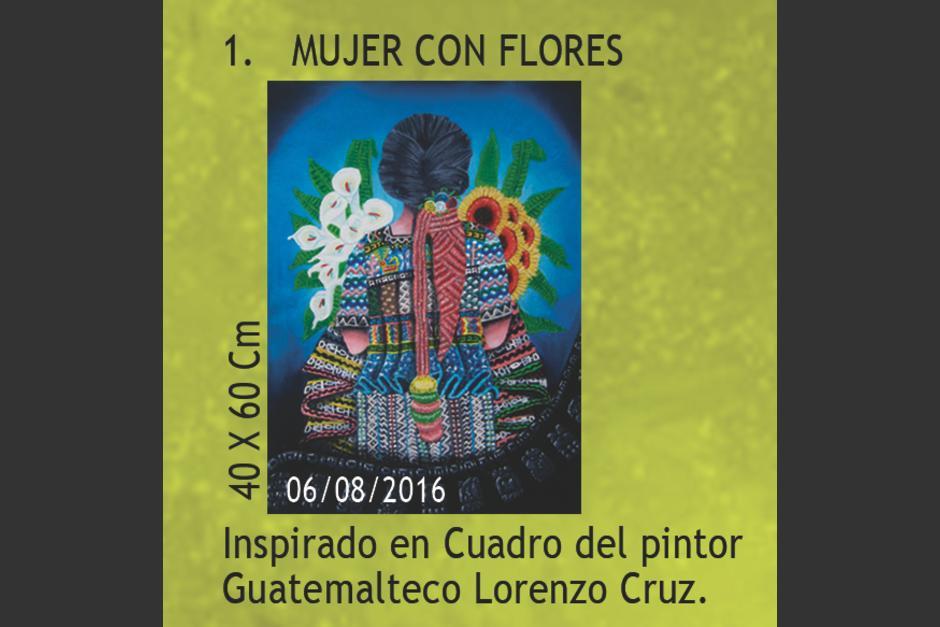 Algunas de las obras están inspiradas en el trabajo de pintores guatemaltecos, según detalla Norma Hernández. (Foto: Trifoliar de exposición)