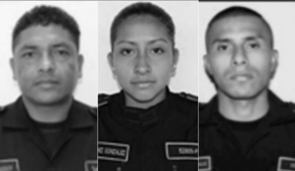 Ellos son los tres agentes que murieron en los ataques de pandilleros. (Foto: PNC)