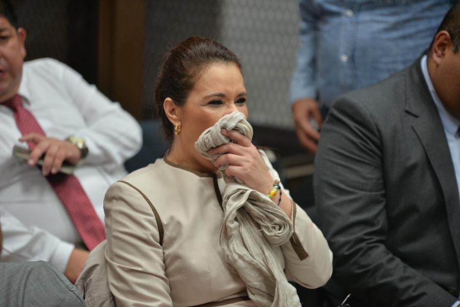 Roxana Baldetti bosteza durante la audiencia del Caso TCQ. (Foto: Wilder López/Soy502)