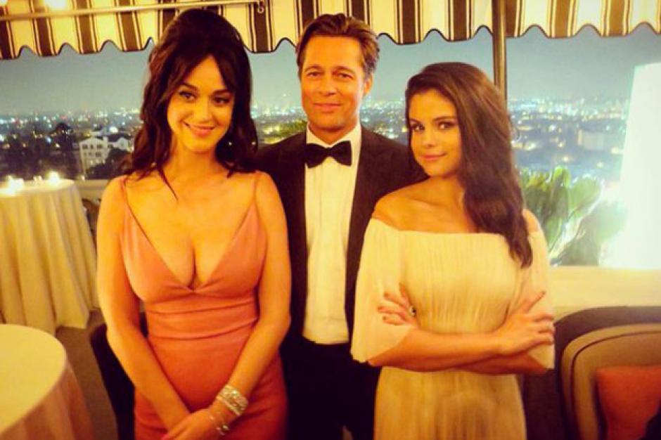Katty Perry, Brad Pitt y Selena Gómez posan juntos. (Foto: antena3.com)